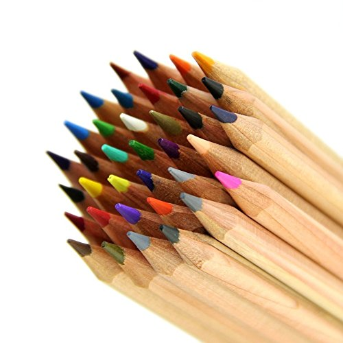 Wooden Colored Pencils,48 colors Art Drawing Color Pencils Set Coloring Books Drawing, Writing and Sketching Eco-friendly (Wood 48 colors)