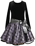 Bonnie Jean Toddler Girl Black and Purple Glitter Holiday Dress (2t-4t)
