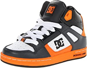 DC Kids Rebound Sneaker (Little Kid/Big Kid),Grey/White,4.5 M US Big Kid