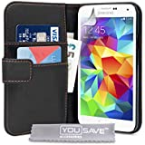 Yousave Accessories PU Leather Wallet Cover Case for Samsung Galaxy S5 - Black