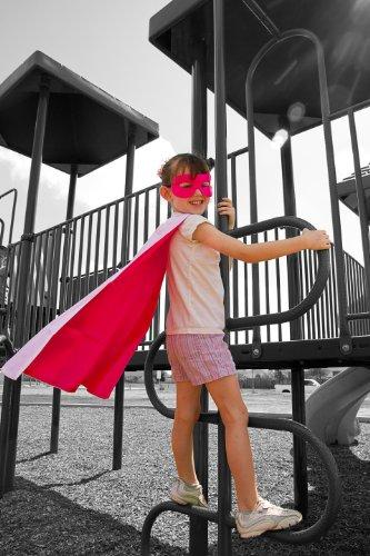 Abracadabrazoo Superhero Hot Pink White Satin Reversible Cape front-1019226