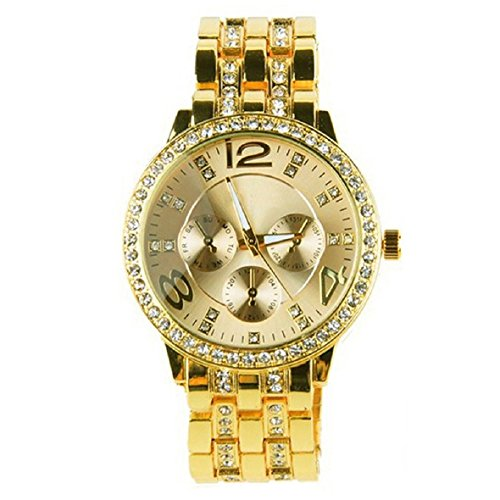 Tonsee Crystal Quartz Rhinestone Crystal Wrist Watch Gold