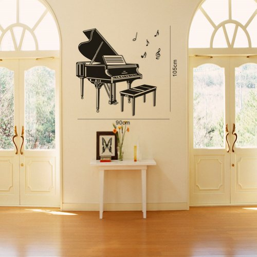 Piano Music Note Wall Stickers Vinyl Wall Art Decals Decoration Poster DIY Removable Lettering Saying Boys and Girls Bedroom Livingroom Playroom Classroom Mural Art Room Home Decor