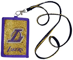 Los Angeles Lakers Beaded Lanyard Wallet by Hall of Fame Memorabilia