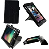 rooCASE Origami Dual-View (Black) Vegan Leather Folio Case Cover for Google Nexus 7 Tablet (NOT Compatible with 2013 Nexus 7 2 FHD)