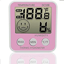 DC108 Digital LCD Indoor Humidity Meter Hygrometer Thermometer Temperature with Stand Desktop Thermo.Hygrometer & Fridge Mount Magnet (Pink)