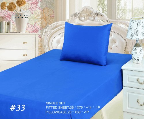 Tache 3 Piece Bed Sheet Set Blue (Fitted Sheet)-Single front-686298