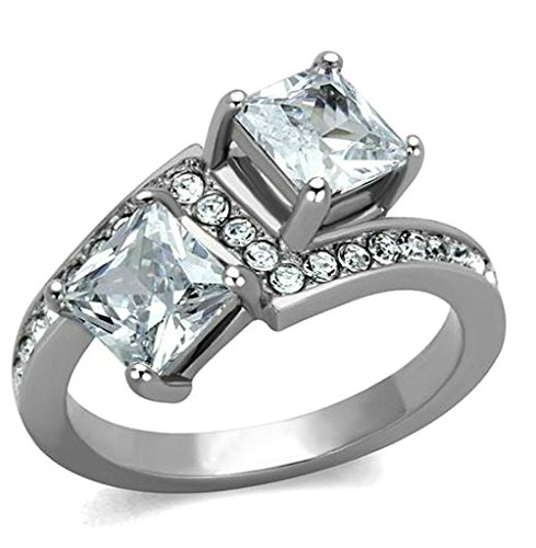 [Daesar Gold Plated Promise Rings Womens Princess Cut Cubic Zirconia Rings CZ Prongs Silver Rings 7] (Buzzfeed Easy Costumes)