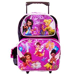 Disney Tinkerbell Large Rolling Backpack - 16in Tinker Bell Wheeled Backpack ( Fairies)