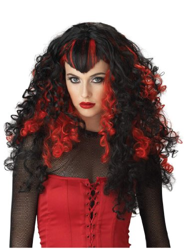 Red and Black Vampire Wig Vampiress Theatre Costume Accessory Gothic Curly
