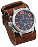 Nemesis #BKIN088KN Men's Russian Lefty Chronograph Wide Leather Cuff Band Watch