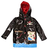 Wippette Waterproof Boys Pirate Hooded Trench Raincoat - Black (Size 4)