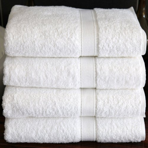 Luxury Hotel / Spa Collection - 4 piece White Terry Bath Towel Set - 100% Genuine Turkish Grown Cotton