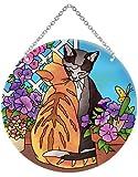 Joan Baker Designs LC354R Garden Cats Suncatcher, 6.5 by 6.5-Inch