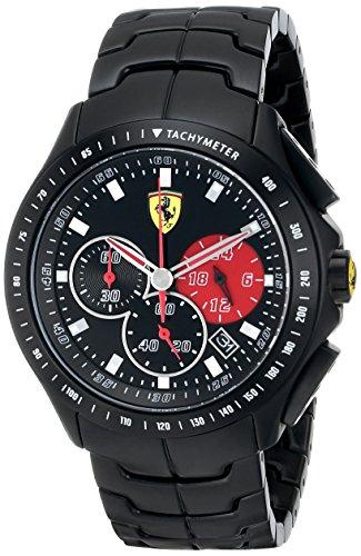 Ferrari 0830084 - Reloj para hombres, correa de acero inoxidable color negro