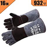 RAPICCA Leather Forge Welding Gloves Heat/Fire Resistant, Mitts for Oven/Grill/Fireplace/Furnace/Stove/Pot Holder/Tig Welder/Mig/BBQ/Animal handling glove with 16 inches Extra Long Sleeve - GreyBlack (Color: Grey-Black)