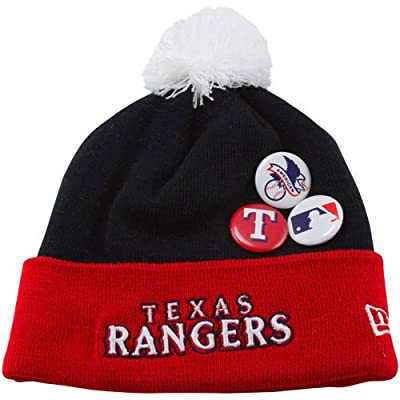 MLB New Era Texas Rangers Button Up Cuffed Knit Beanie - Navy Blue/Red
