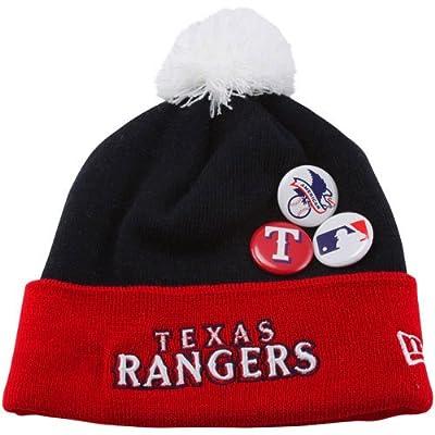 MLB New Era Texas Rangers Button Up Cuffed Knit Beanie - Navy Blue/Red