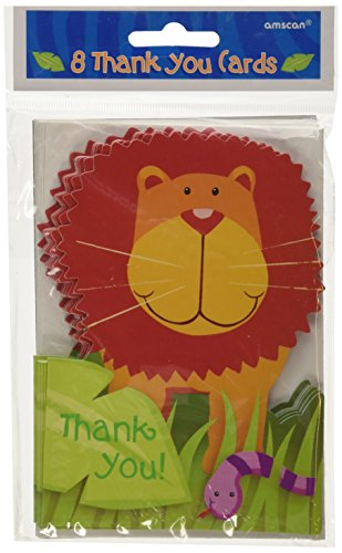"Colorful Jungle Animals Birthday Thank You Notes, 3-7/8 x 5-5/8"", Multi"