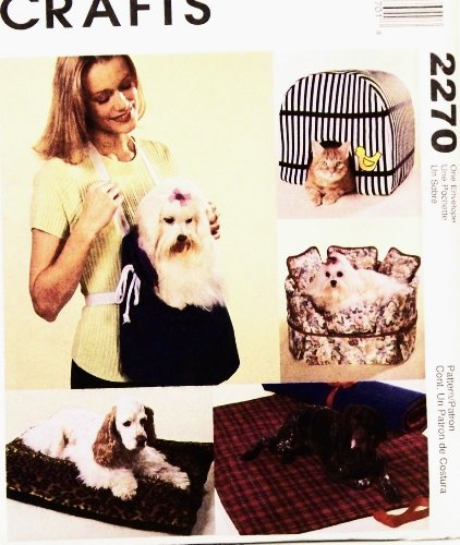 OOP McCall's Crafts Pattern 2270. Pet/cat/dog: House; Sofa; Carrier; Pillow; Bed