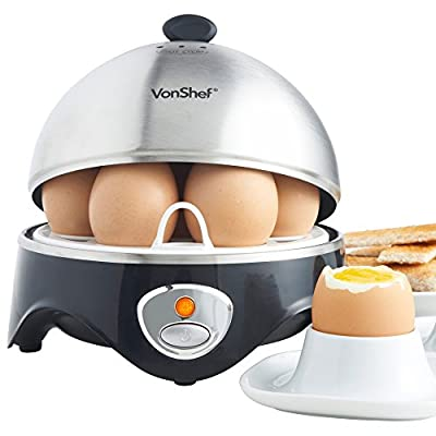VonShef 7-Egg Electric Egg Cooker Stainless Steel with Poacher & Steamer Attachment