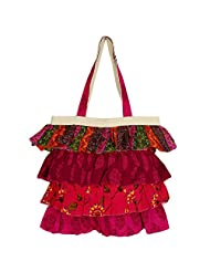 Frilly Designer Shopping Bag With 4 Tiered Frill,Cotton Canvas Printed Poplins,Zipper Closing, 2 Pockets