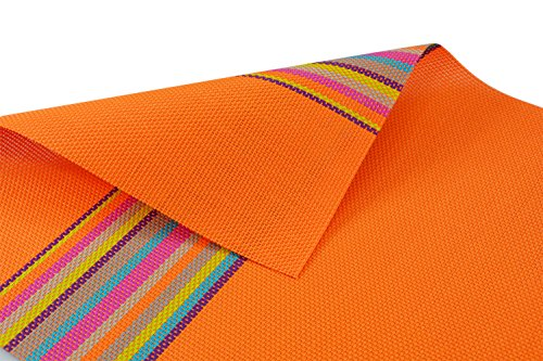 17.5″x12″ Deluxe PVC Placemats Placemat- Dining Room Placemats for Table Heat Insulation Anti-skid Stain-resistant, Set of 6 (Orange)