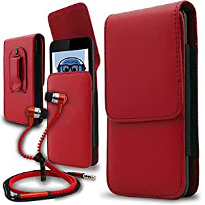 iTALKonline Alcatel One Touch 807 Red PREMIUM PU Leather Vertical Executive Side Pouch Case Cover Holster with Belt Loop Clip and Magnetic Closure