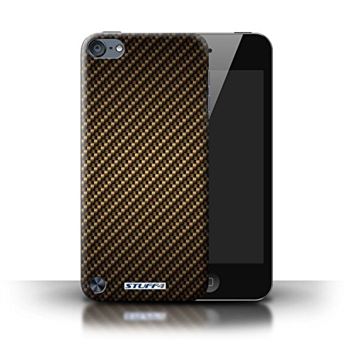 STUFF4 Phone Case / Cover for Apple iPod Touch 5 (5th Generation) / Gold Design / Carbon Fibre Effect/Pattern Collection