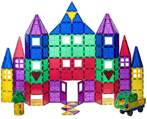 playmags-award-winning-clear-colours-magnetic-tiles-deluxe-building-set-with-car-includes-free-bonus