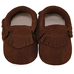 Baby Conda Handmade Brown Suede Baby Moccasins * 100% Genuine Leather * Soft Sole Slip on Baby Shoes for Boys and Girls * 100% Money Back Guarantee Size 0 - 6 Months