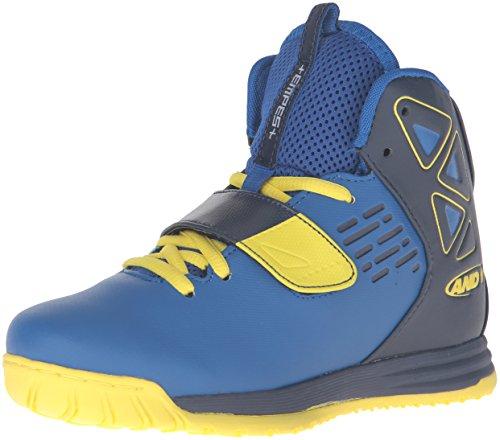 AND 1 Kids' Tempest Boys AU Skate Shoe, Royal/Peacoat/Blazing Yellow, 4.5 M US Big Kid