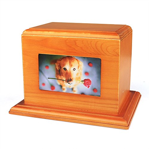 iPettie Solid Wood Pet Cremation Ashes Urn Casket