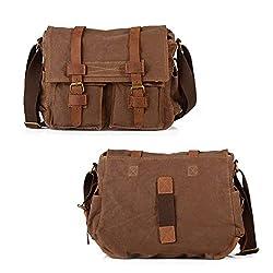Winkine Retro Cowhide Leather Canvas Professional Digital Camera Bag - Sturdy Vintage Shoulder Messenger Bag