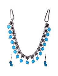 Gehna Mart Handmade Designer Brass Necklace With Blue Earrings In Yellow Gold Finish 74.2 Grams