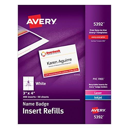 Avery White 3 x 4 Inch Name Badge Insert Refills 300 Count (5392) (Avery Name Badge Inserts 5392 compare prices)