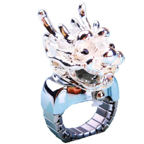 Coostyle 3D Silver Dragon Black Eyes Quartz Finger Ring Watch, With Gift Box