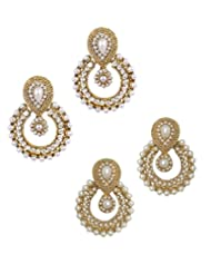 YouBella Combo Of Designer Traditional Pearl And American Diamond Earrings