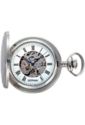 Gotham Men's Silver-Tone 17 Jewel Exhibition Mechanical Covered Pocket Watch # GWC14035S