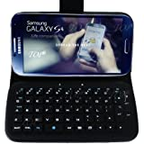 TOP Wireless Removable Bluetooth Keyboard Leather Flip Case Cover for Samsung Galaxy S4 SIV i9500. Detachable Keyboard + Leather Case. 6~10 Days Delivery