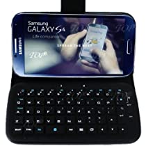 TOP® Wireless Removable Bluetooth Keyboard Leather Flip Case Cover for Samsung Galaxy S4, SIV, I9500 in Black Color, Unique Phone Cases for Galaxy S4, Smart Cover for Galaxy S4 I9500. 6~10 Days Delivery