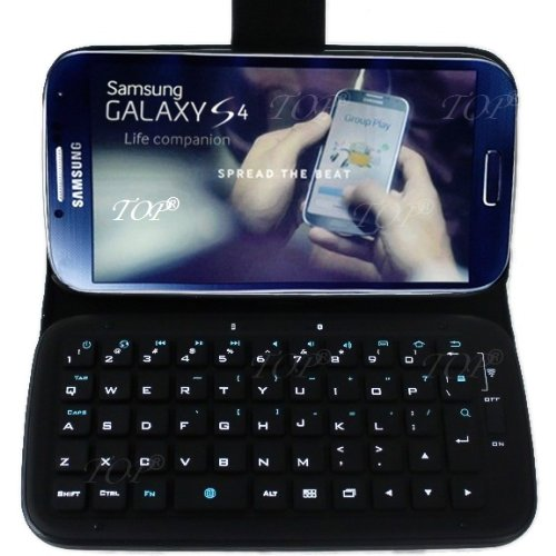 Top® Wireless Removable Bluetooth Keyboard Leather Case Cover For Samsung Galaxy S4, Siv, I9500. 6~10 Days Delivery