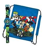 Ben10 Kids Draw String / Sports / Gym Bag And Watch Gift Set 24820SETA