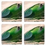 Clear Green Ocean Wave Surfing Square Coaster (4 Piece) Set Fabric Rubber 5 Inch Size MSD Coaster Cup Mug Can Water Bottle Drink Coasters Stain Resistance Collector Kit Kitchen Table Top Desk