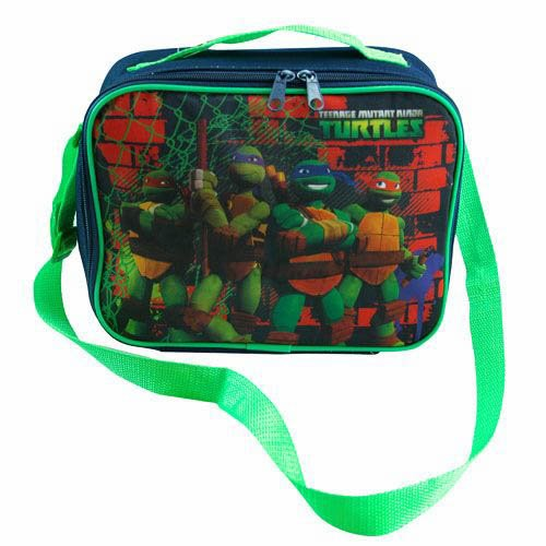 Tennager Mutant Ninja Turtle Tmnt Rectangle Field Trip School Lunch Bag with Green Strap New - 1