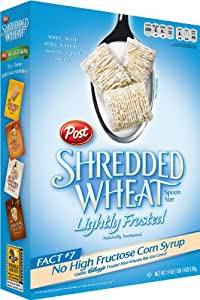 Post Shredded Wheat Lightly Frosted Cereal, Spoon Size, 19-Ounce Boxes (Pack of 4)