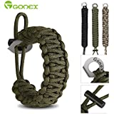 Gonex Premium Paracord Bracelet Excellent 550 Cord Parachute bracelet with Fire Starter and Eye Knife for Hiking Camping Advanture fits 8-10 Inch Wrist