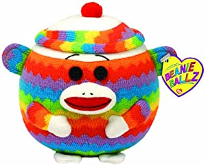 Ty Beanie Ballz - Sock Monkey - Rainbow