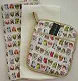 Multi Colored Owls Kitchen Tea Towel and Pot Holder Set