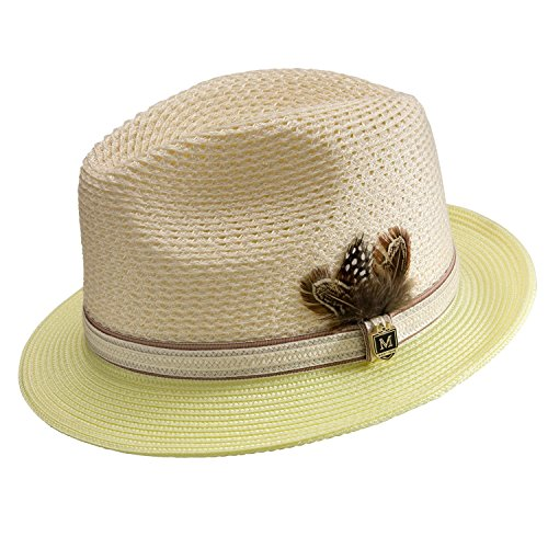 Montique Men's Braided Two Tone Pinch Fedora Hat H31 (Maize Fedora Hat)